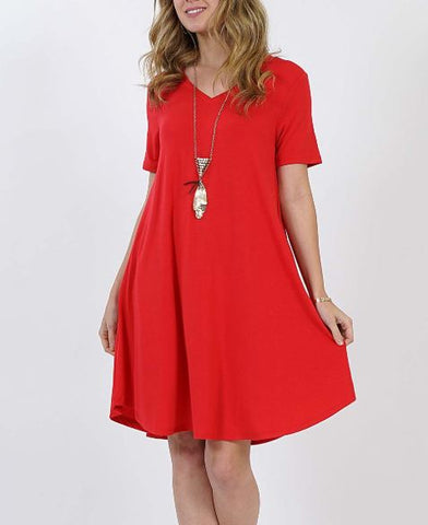 Women's Red Pocket Dress: S-3XL dress MomMe and More