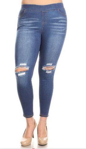 Women's Plus Jeggings Distressed Denim Jeans: 1xl/2xl/3xl Jeans MomMe and More