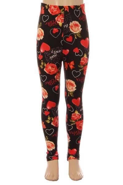 Girl's Mother's Day I Love You Leggings: S and L - MomMe and More Matching Mommy and Me Clothing