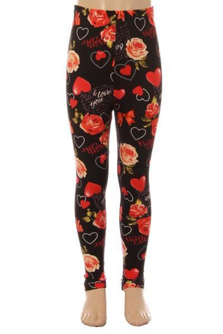 Girl's Mother's Day I Love You Leggings: S and L Leggings MomMe and More