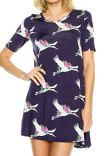 Women's Stork Printed Dress Long Blue Tunic Top - MomMe and More Matching Mommy and Me Clothing