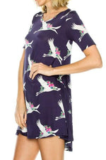 50% Off Women's Stork Printed Dress Long Blue Tunic Top: M/L Tunics MomMe and More
