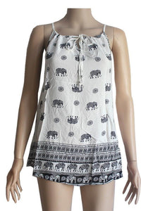 Ladies Women Size Small Elephant and Paisley Print High Neck Summer Tank Tunic Shirt Top