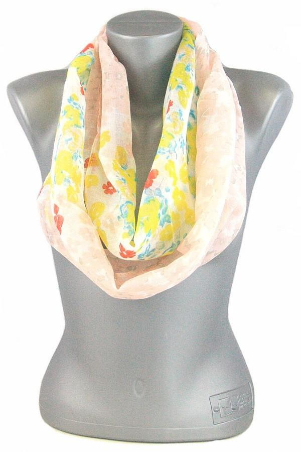 Women's Spring Floral Infinity Scarf: Yellow Multi
