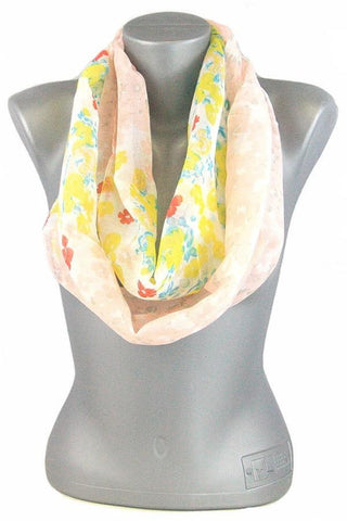 Women's Spring Floral Infinity Scarf: Yellow Multi MomMe and More