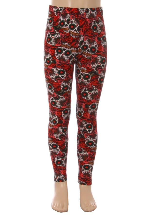 Girls Skull Leggings Day of the Dead Red/Black: S/L - MomMe and More