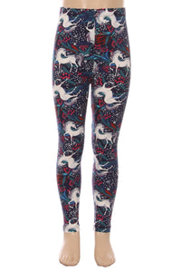 Girl's Unicorn Printed Leggings Blue: S and L Leggings MomMe and More
