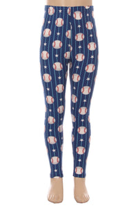Girl's Baseball Printed Leggings Red/White/Blue: S/L - MomMe and More