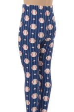 MomMe And More Girl's Baseball Printed Soft Leggings Blue: S and L Leggings MomMe and More