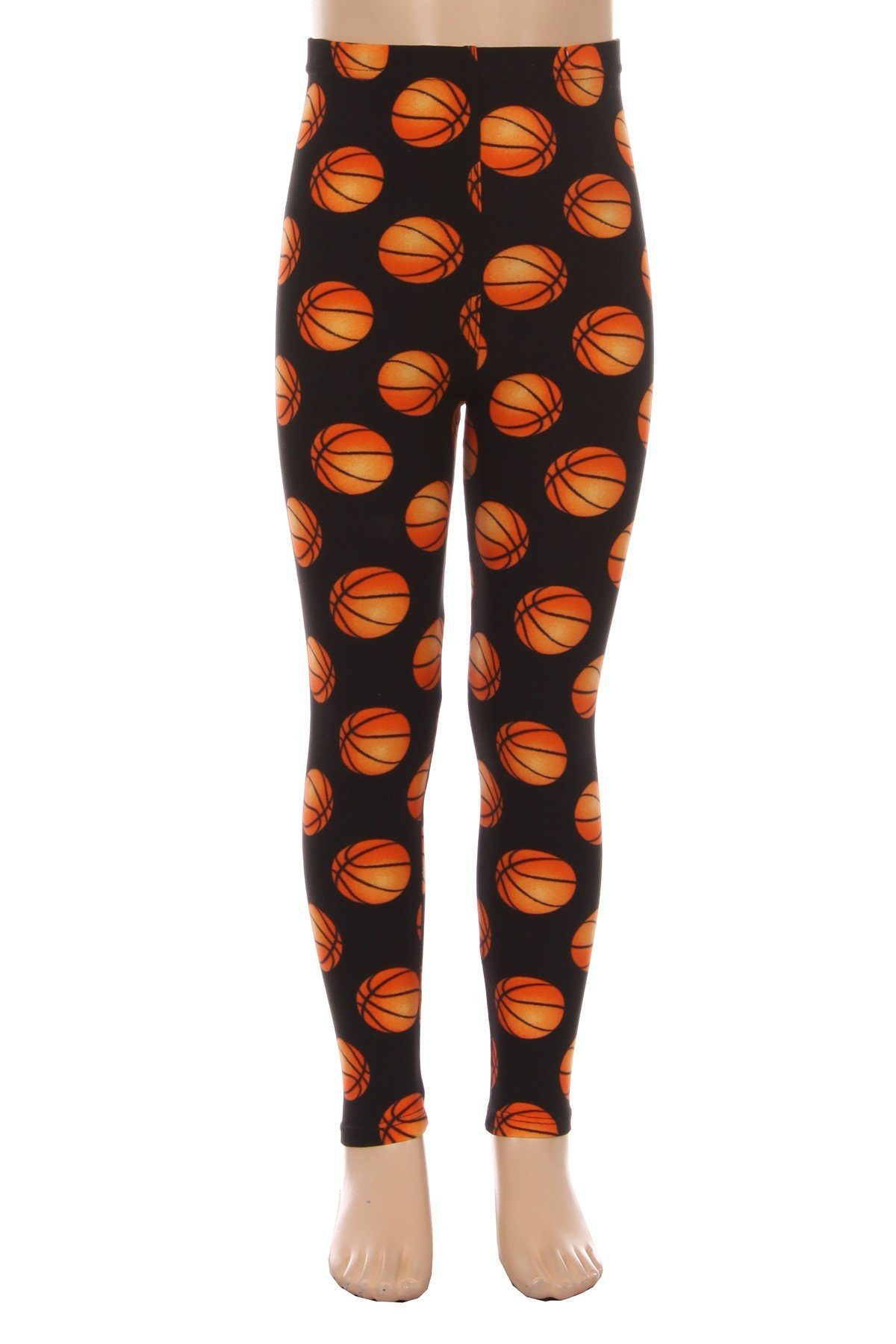 Girl's Basketballs Leggings Black/Orange: S/L - MomMe and More