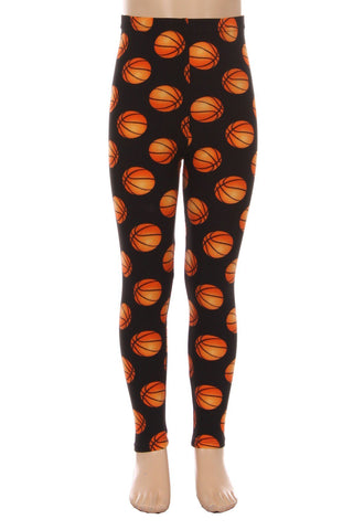 Girl's Basketball Printed Leggings Orange: S and L Leggings MomMe and More