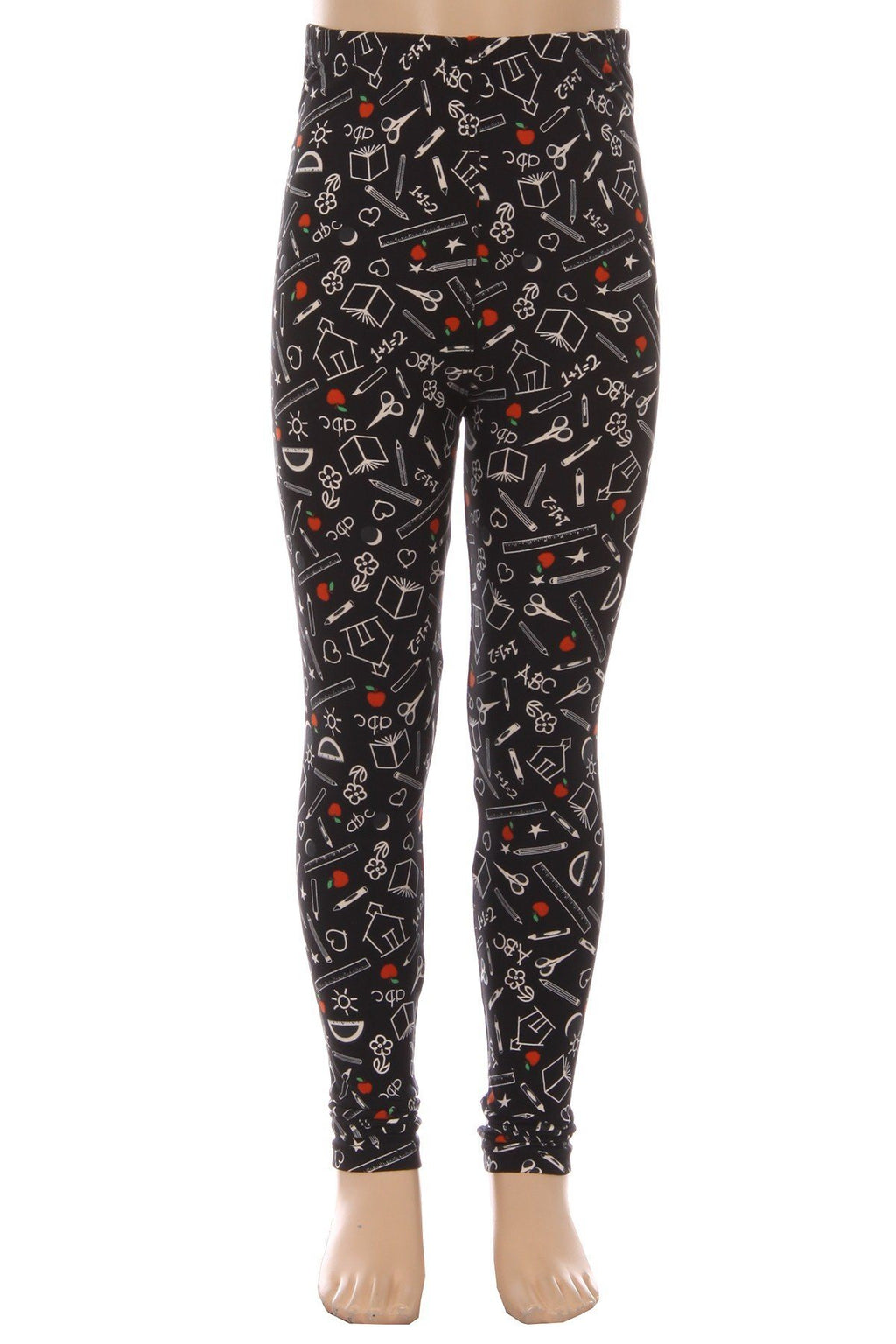 Girl's School House ABC Printed Leggings Black/White: S/L - MomMe and More