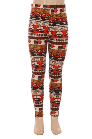 Girl's Mitten Snowman Candy Cane Leggings Red/White: S/L Leggings MomMe and More