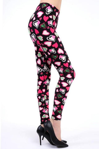 Womens Valentines Day Pink Green Heart Leggings Leggings MomMe and More