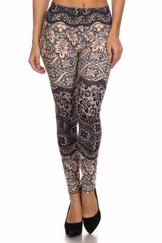 Leggings for Women ELEGANT LACE FLORAL VINES, OS/PLUS