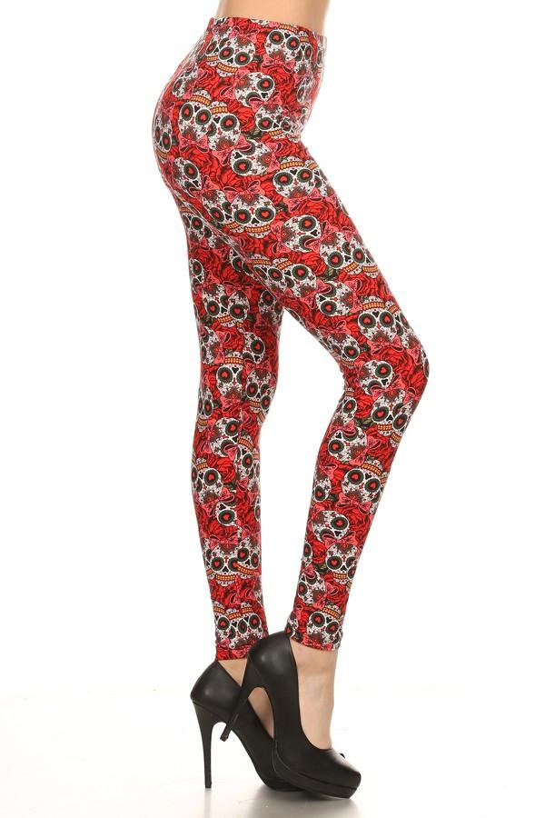 Women's Sugar Skull Printed Leggings: OS and Plus Leggings MomMe and More