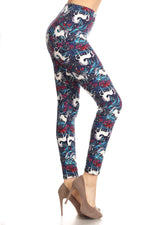 White Unicorn Printed Leggings Blue/White: OS/PLUS - MomMe and More