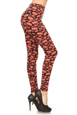 Women's Football Printed Leggings Brown: OS and Plus Leggings MomMe and More