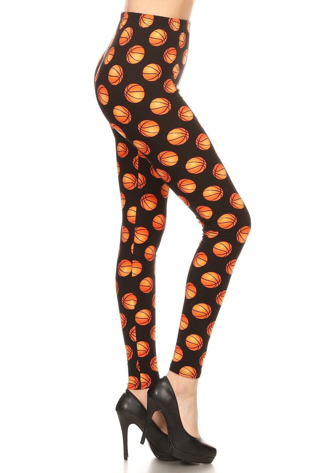 Women's Basketball Printed Leggings Orange: OS and Plus - MomMe and More Matching Mommy and Me Clothing