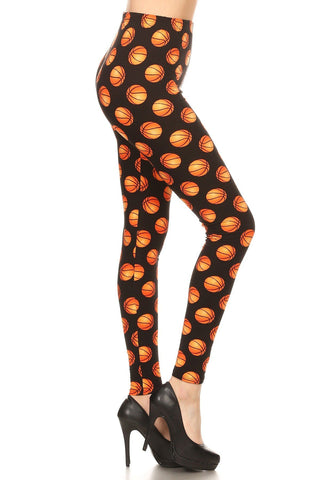 Women's Basketball Printed Leggings Orange: OS and Plus Leggings MomMe and More