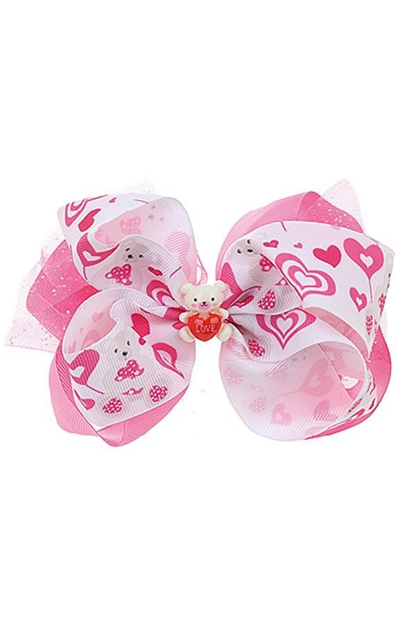 Girl's JoJo Inspired Large Cheer Hair Bow: Teddy Bear - MomMe and More Matching Mommy and Me Clothing