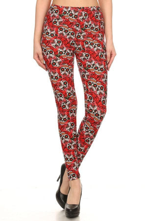 Women's Sugar Skull Printed Leggings Red: OS and Plus Leggings MomMe and More