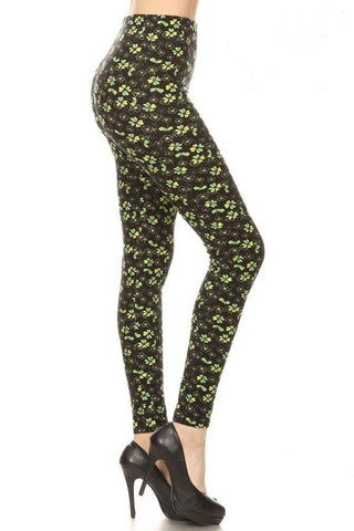 Womens St Patrick Day Shamrock Leggings Leggings MomMe and More