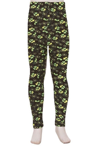Girl's St. Patrick Day Shamrock Leggings Leggings MomMe and More