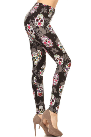 Women's Sugar Skull Floral Leggings, Black: OS and Plus Leggings MomMe and More