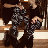 Girls Snowflake Leggings: Black Leggings MomMe and More