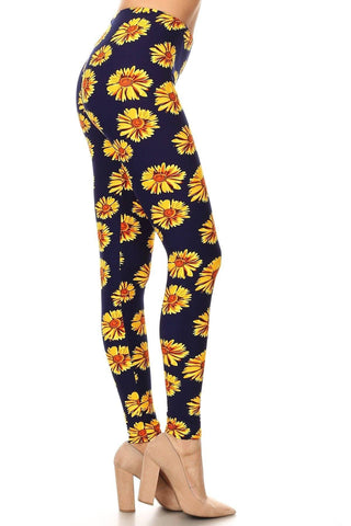 Women's Sunflower Fall Leggings: Blue Yellow Leggings MomMe and More
