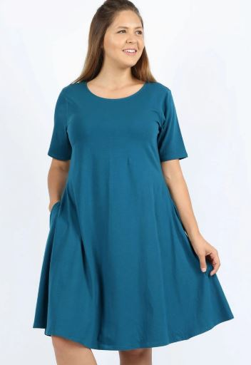 Women's Teal Blue Tunic Dress With Pockets: 1xl/2xl/3xl dress MomMe and More