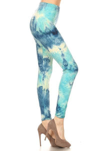 Women's Tie-Dye Printed Leggings Ocean Blue: OS and Plus