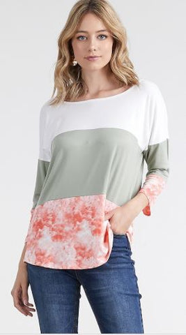 Women's Tri-Color Block Top Ivory/Green/Peach: S/M/L/XL Tops MomMe and More