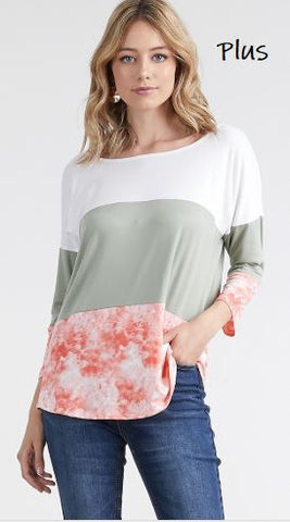 Women's Tri-Color Block Top Ivory/Green/Peach: Plus 1xl/2xl/3xl Tops MomMe and More