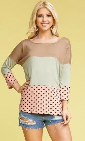Women's Tri-Color Block Top Mocha/Green/Pink: S/M/L/XL Tops MomMe and More