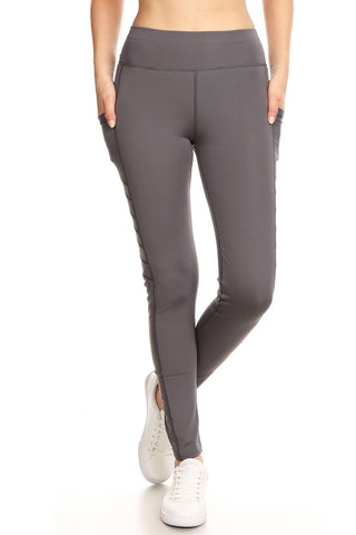 Women's Pocket Leggings: Gray/Mesh Leggings MomMe and More