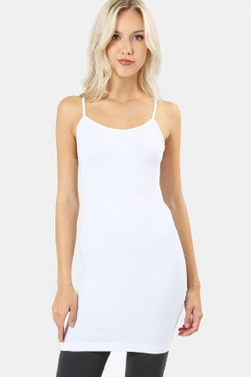 Women's White Tank Dress Slimming Cami: S and L Tops MomMe and More
