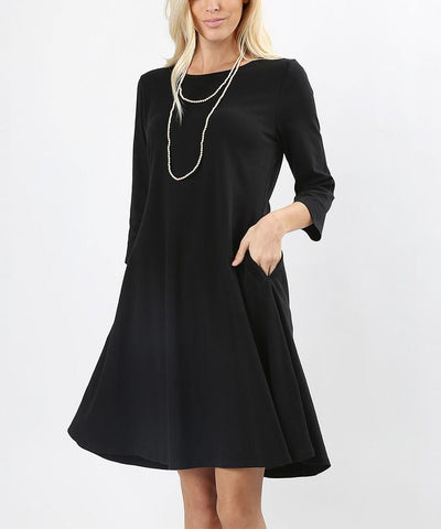 Women's Black Pocket Dress 3/4 Sleeves: S-3XL dress MomMe and More