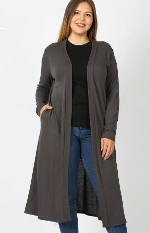 Women's Long Cardigan With Pockets, Gray: Plus 1xl/2xl/3xl Cardigan MomMe and More