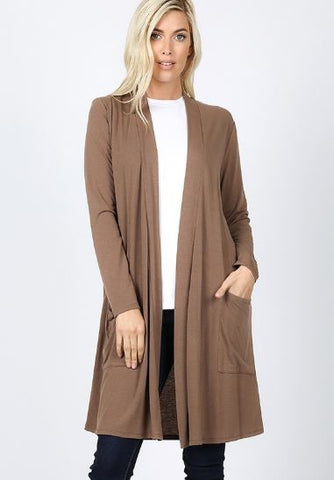 Women's Mocha Brown Cardigan With Pockets: S/M/L/XL Cardigan MomMe and More