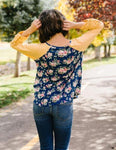 Womens Blue Yellow Floral Raglan Top: Plus Tops MomMe and More