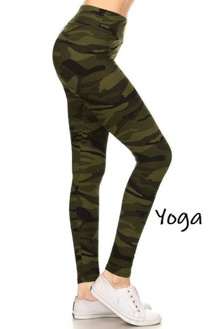 Women's Camouflage Yoga Leggings, Green: OS and Plus Leggings MomMe and More