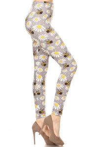 Women's Bumble Bee Daisy Leggings Gray/Yellow: OS and Plus Leggings MomMe and More