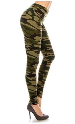 Women's Camouflage Leggings Camo Green: OS and Plus Leggings MomMe and More
