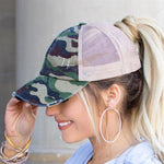 Womens Criss-Cross Back Ponytail Hat: Green Camo accessories MomMe and More