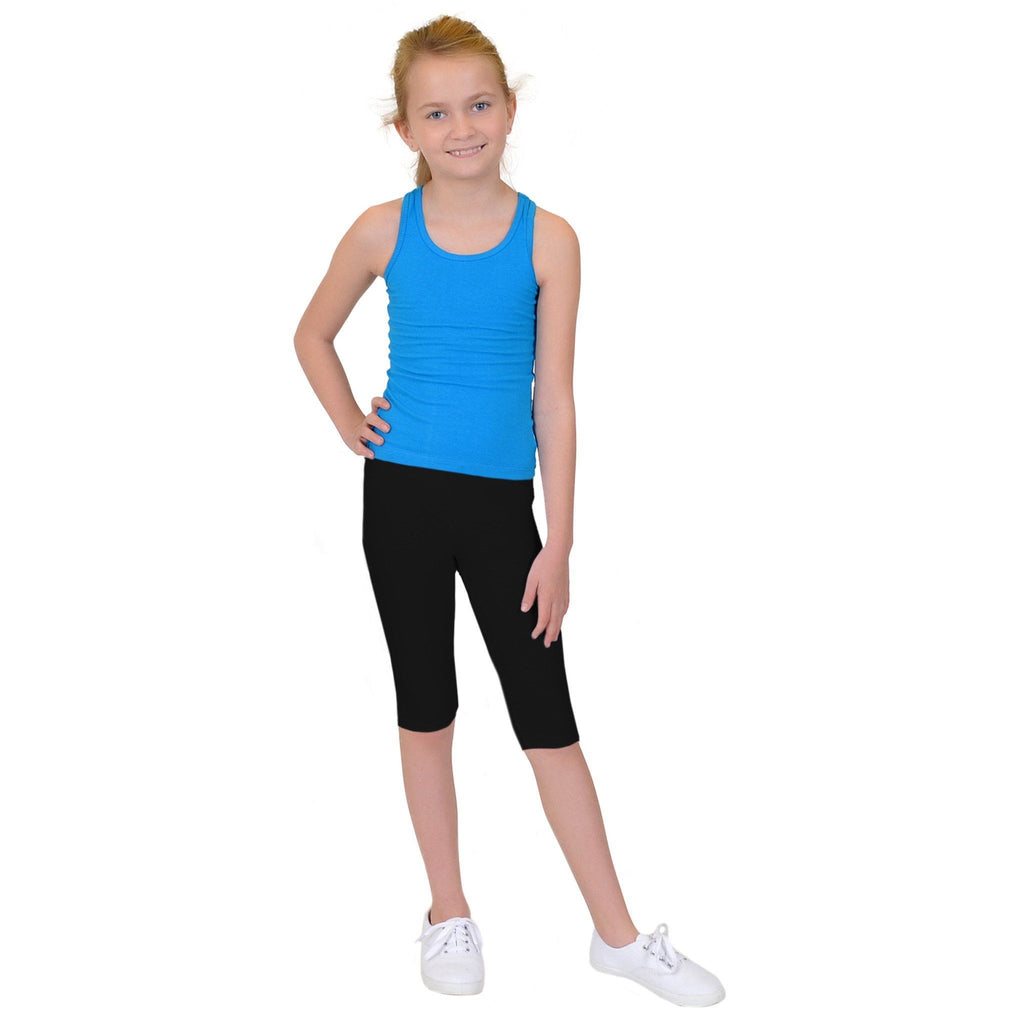 Girl's and Toddlers Solid Black Capri Leggings: S and L Leggings MomMe and More