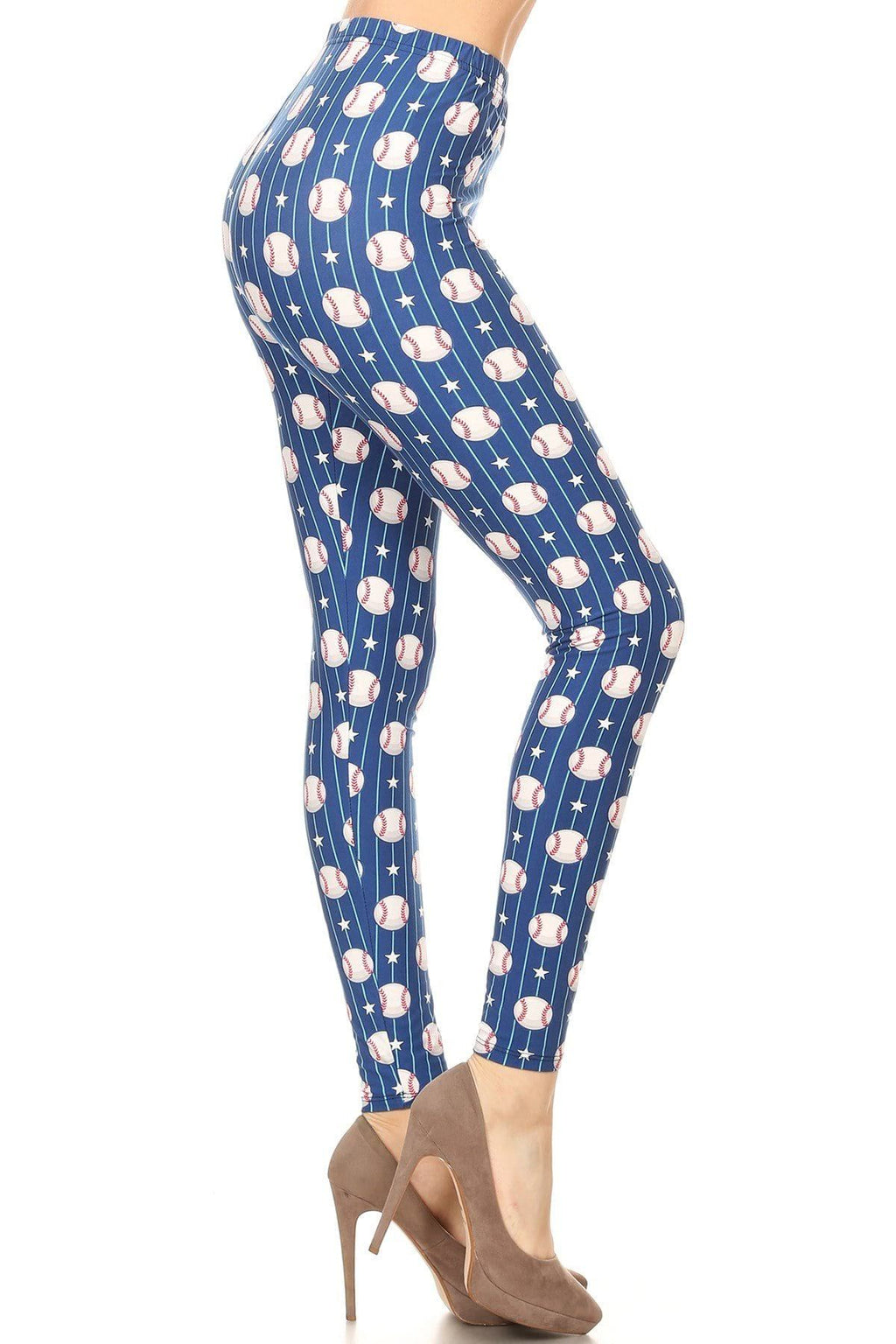Women's Baseball Printed Leggings Blue: OS and Plus Leggings MomMe and More