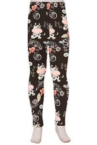 Girl's Cow Daisy Printed Leggings Black Pink: S and L Leggings MomMe and More