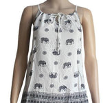 Women's Elephant Printed Tank Top Black/White: S - MomMe and More